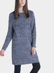 Long Sleeves Knitted Dress in Blue