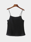 Lace Insert Pleated Cami in Black