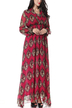 Plus Size Burgundy Long Sleeve Maxi Dress with Floral Print