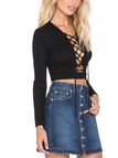 Black Hollow Out Lace-up Ribbed Crop Top