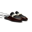 Artificial Leather & Fur & Pearl Square Toe Lace-up Mules in Burgundy