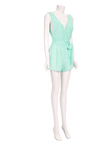 Mint Semi-sheer Plunge V-neck Self-tie Playsuit