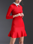 Red Stitching Pointed Collar Flounced Hem Mini Dress