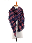 Square Checked Shawl Scarf in Navy and Pink