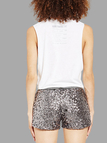 Silver Sequin Low Waist Shorts