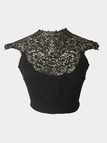 Black High Neck Crochet Lace Insert Crop Top with Self-tie Back