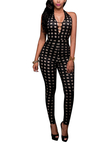 Sexy Plunging Backless Grid Pattern Jumpsuit