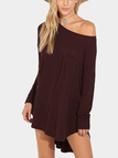 Loose Special Neck Curved Hem Mini Dress with Long Sleeves
