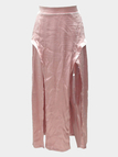 Pink Silky Satin Front Splited Sexy Maxi Skirt