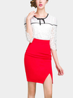 Red Wrap High Waist Pencil Skirt