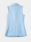 High Lapel Collar Longline Gilet in Light Blue