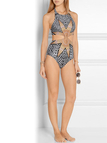Floral Print Halter Cut Out One Piece Swimsuit