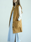 Light Tan Snap Buttons Gilet with Large Pockets