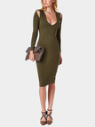Olive Green V Neck Midi Dress with Cut Out Detail