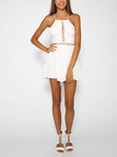 White Hollow Detail Backless Self-tie Sleeveless Playsuit