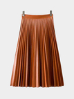 Orange Pleated Skirt in Artificial Leather