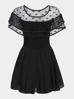 Black See-through Mesh Layered Ruffled Pleats Dress