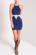 Navy Halter Dress With Lace Insert Detail