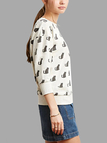 Cat Print  Sweatshirt in White
