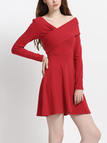 Fashion Crosses Front Long Sleeves Mini Dress