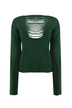 Loose Hollow Out Knitted Jumper in Green