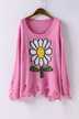 Pink Round Neck Knitted Sweater with Sunflower Pattern and Rips Detail