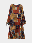 Color block Printing Midi Dress