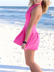 Plunge Sleeveless Backless Halter Playsuit in Rose Red