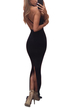 Black Sexy Backless Hollow Split Back Body-con Maxi Dress