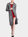 Dark Grey Hooded Knitted Cardigan with Open Front