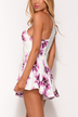 Random Floral Print Sleeveless Playsuit with Lace Details