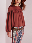 Lantern Sleeves Pleated  Blouse