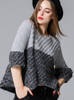 Grey Knitted Color Contrast Jumper