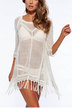 Hollow Out Knitted Mini Dress in White