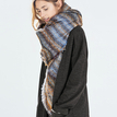 Stripe Printing Shawl Scarf with Tassel Hem