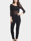 Black Sexy Off Shoulder Mesh Patchwork Jumpsuit