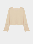 Bell Sleeves Hollow Out Crop Top in Nude