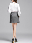 Grey A-line Mini Skirt with Twin Patch Pocket