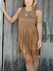 Khaki Suedette Fringe Overlay Dress