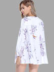 Floral Print Long Sleeves Shirt Dress in White