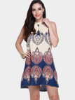Sleeveless Halter Mini Dress in Printing
