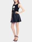Casual Black Color Sleeveless Mini Dress with Pattern