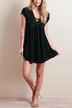 Black Lace-up Dress With Hollow Out Details