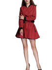 Red Stand Collar Jacket & Flounced Hem Mini Skirt Co-ord