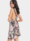 Sexy Floral Print Backless Suspenders Dress