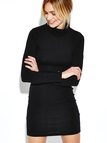 Black High Neck Bodycon Mini Dress with Long Sleeves