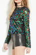 Sequin Hollow Out Long Sleeves Shirt with Zip Back Fastening