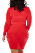 Red Plus Size Plunge Neck Wrap Mini Dress