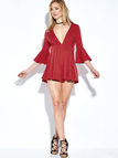 Red Plunge V-neck Playsuit with Flared Sleeves