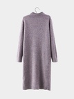Plum Long Sleeves Sweater Dress with Split hem
